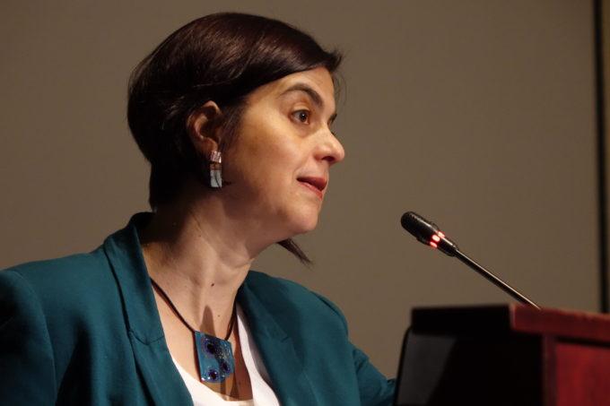 Ministra de la Mujer, Claudia Pascual, inauguró el encuentro. Crédito: Nicolás Lira T - ALMA (ESO/NAOJ/NRAO)