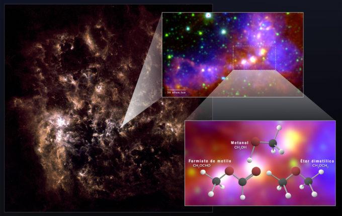 """Gracias a ALMA, los astrónomos descubrieron """"huellas"""" químicas de metanol, éter dimetílico y formiato de metilo en la Gran Nube de Magallanes. El éter dimetílico y el formiato de metilo son las moléculas orgánicas más grandes descubiertas con seguridad fuera de la Vía Láctea. La imagen de la Gran Nube de Magallanes en varios cuadros muestra las zonas protoestelares observadas por ALMA. La galaxia entera a la izquierda es una imagen en infrarrojo lejano obtenida por el observatorio Herschel. La imagen ampliada se generó combinando datos de infrarrojo medio del observatorio Herschel y datos de luz visible (H-alpha) del telescopio de Blanco, un telescopio de 4 metros. Créditos: NASA/GSFC; NRAO/AUI/NSF; ALMA (ESO/NAOJ/NRAO); Herschel/ESA; NOAO"""
