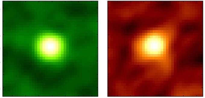 Imagen 2: emisión del monóxido de carbono (izquierda) y emisión del polvo frío (derecha) en WISE1029 observadas con ALMA. La imagen representa 3 arcosegundos cuadrados. Créditos: ALMA (ESO/NAOJ/NRAO), Toba et al.