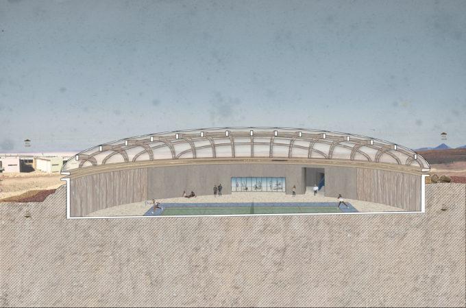 Imagen referencial interna de la multicancha en ALMA. Crédito: Toptent Ingeniería y Construcción SpA./Murúa Arquitectos Asociados.