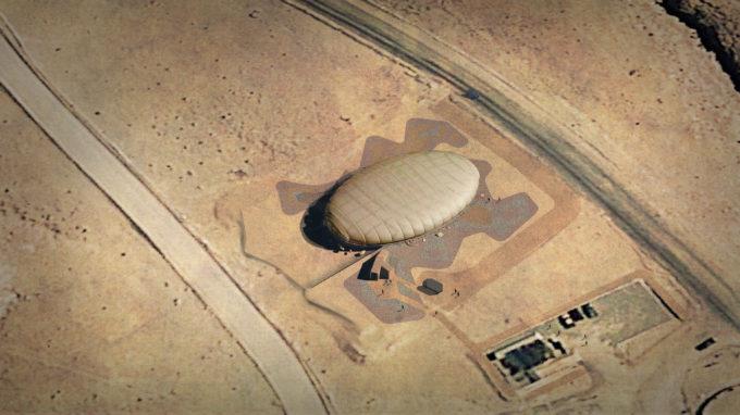 Imagen referencial aérea de la multicancha en ALMA. Crédito: Toptent Ingeniería y Construcción SpA./Murúa Arquitectos Asociados.